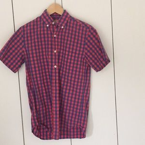 J Crew  Men's check shirt short sleeve XS